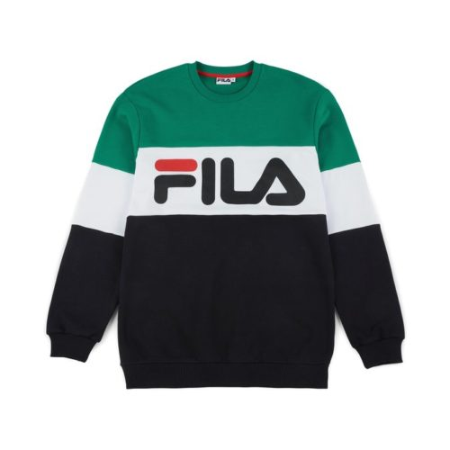 felpe fila straight blocked crewneck black bright white shady glade