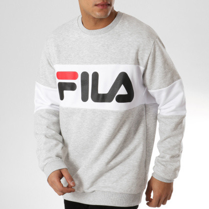 e03e3753e2557 Fila Straight Blocked Crew Light Grey Melange