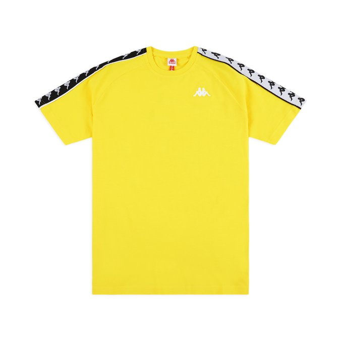 t shirt kappa 222 banda coen slim t shirt yellow black white